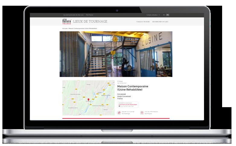 Cas client Naes - Film France - visuel application lieux de tournage Usine